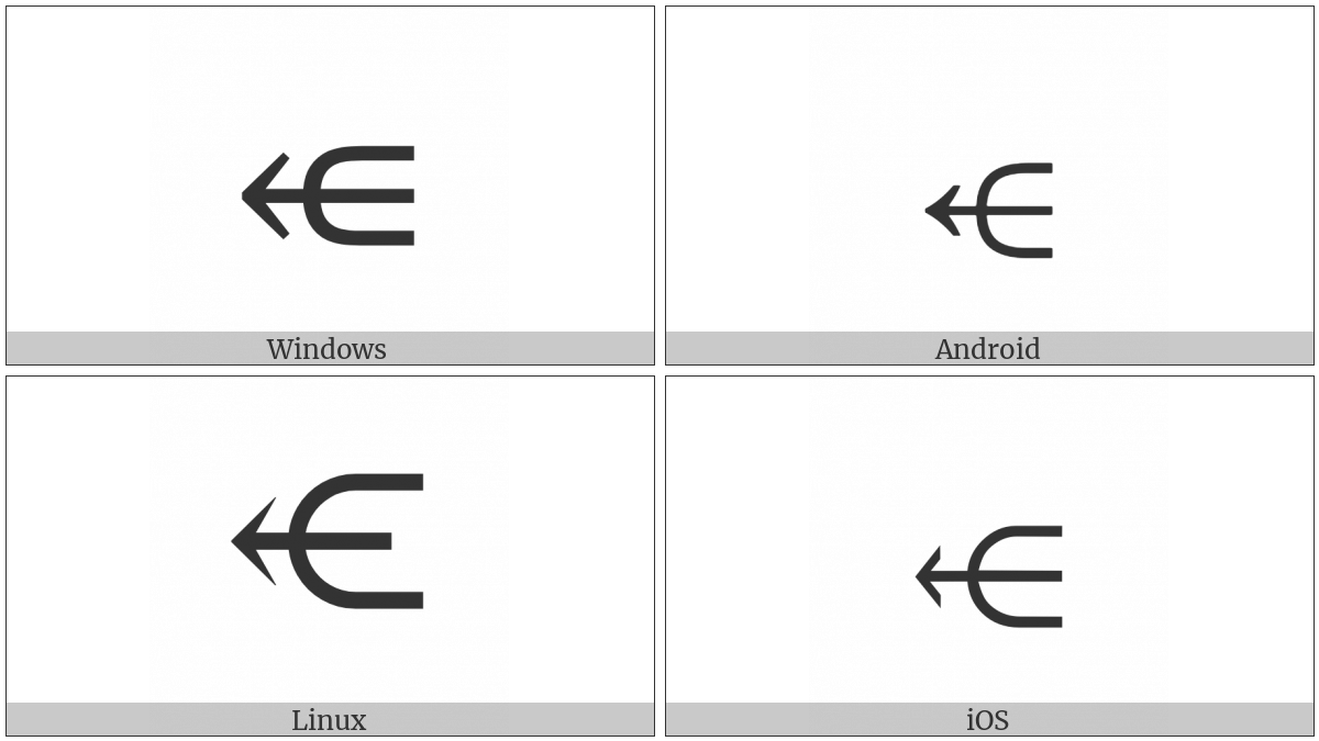 Leftwards Arrow Through Subset on various operating systems