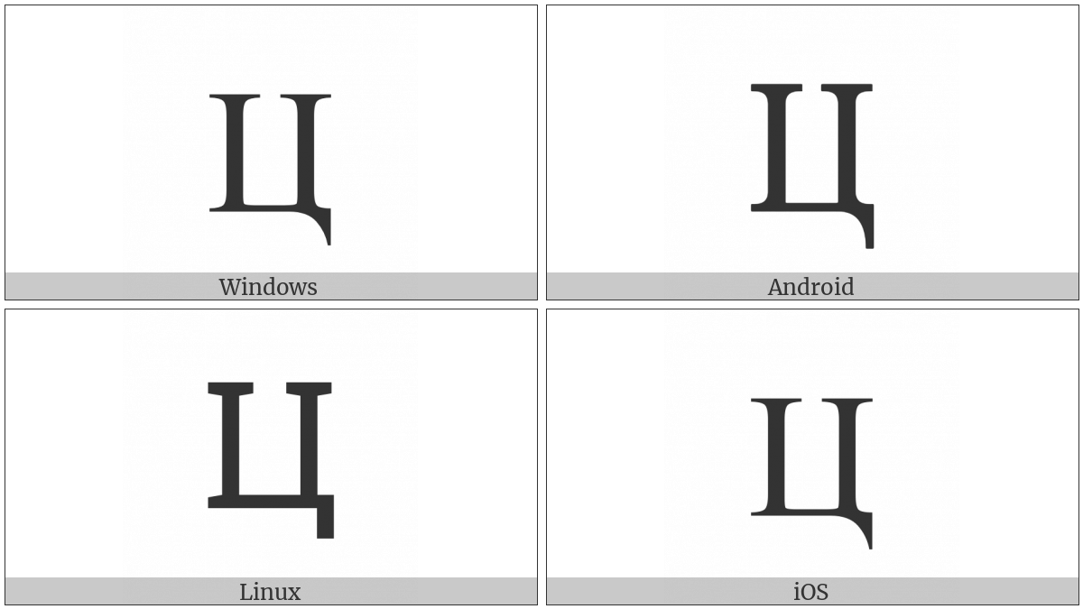 Cyrillic Capital Letter Tse on various operating systems