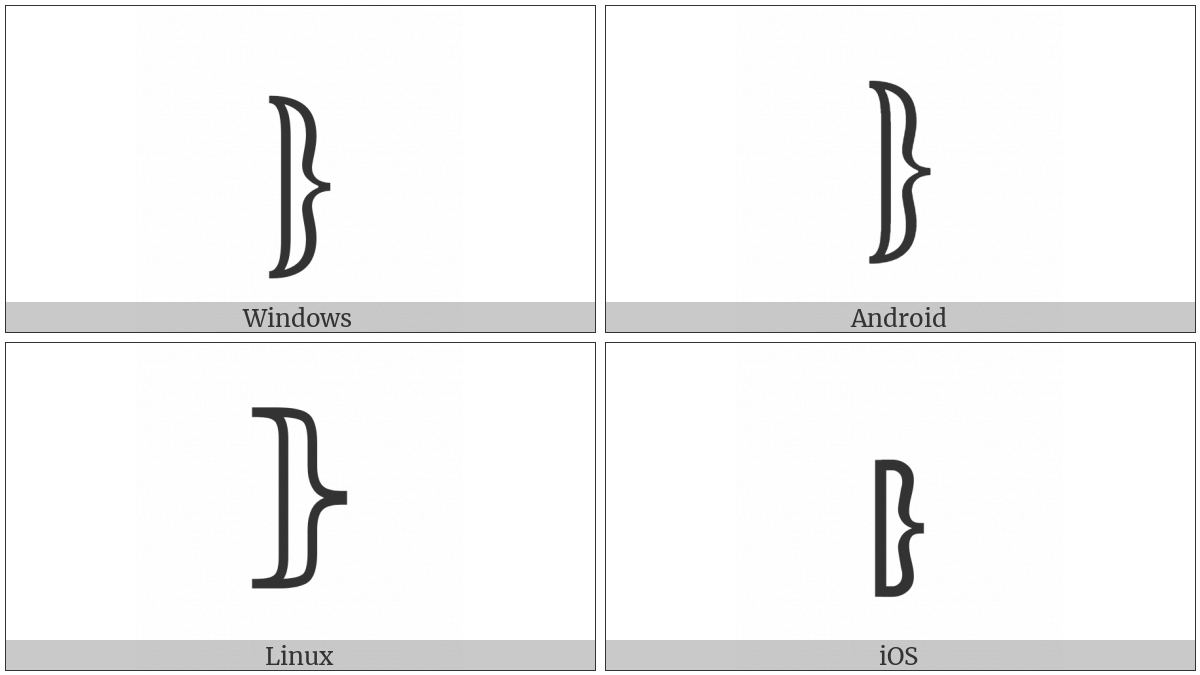 Right White Curly Bracket on various operating systems