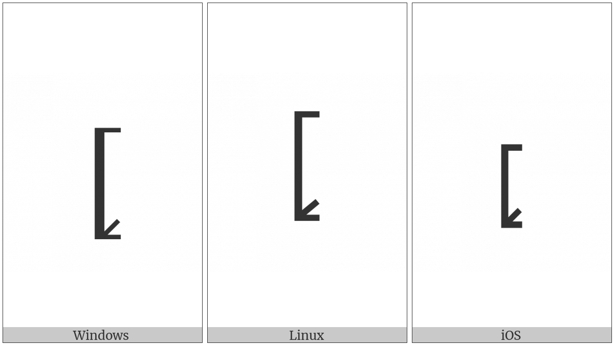 Left Square Bracket With Tick In Bottom Corner on various operating systems