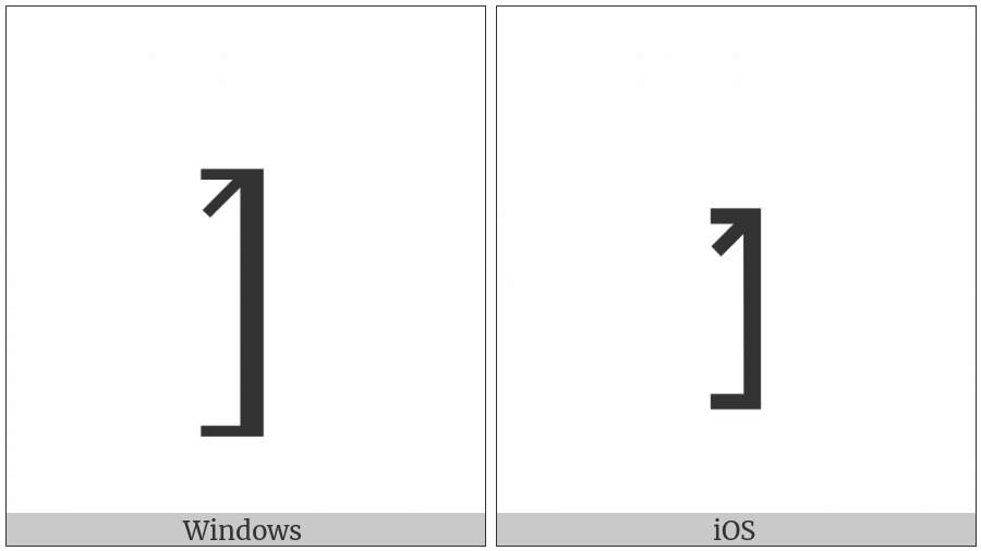 Right Square Bracket With Tick In Top Corner on various operating systems