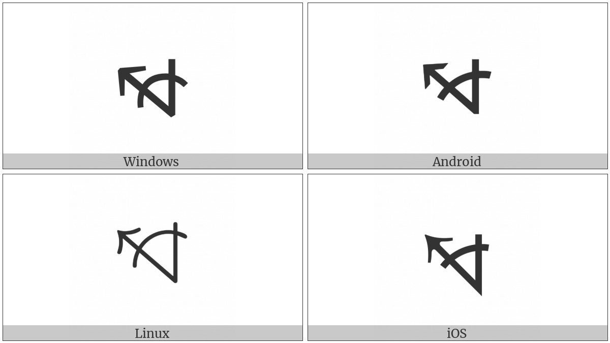 Measured Angle With Open Arm Ending In Arrow Pointing Left And Up on various operating systems