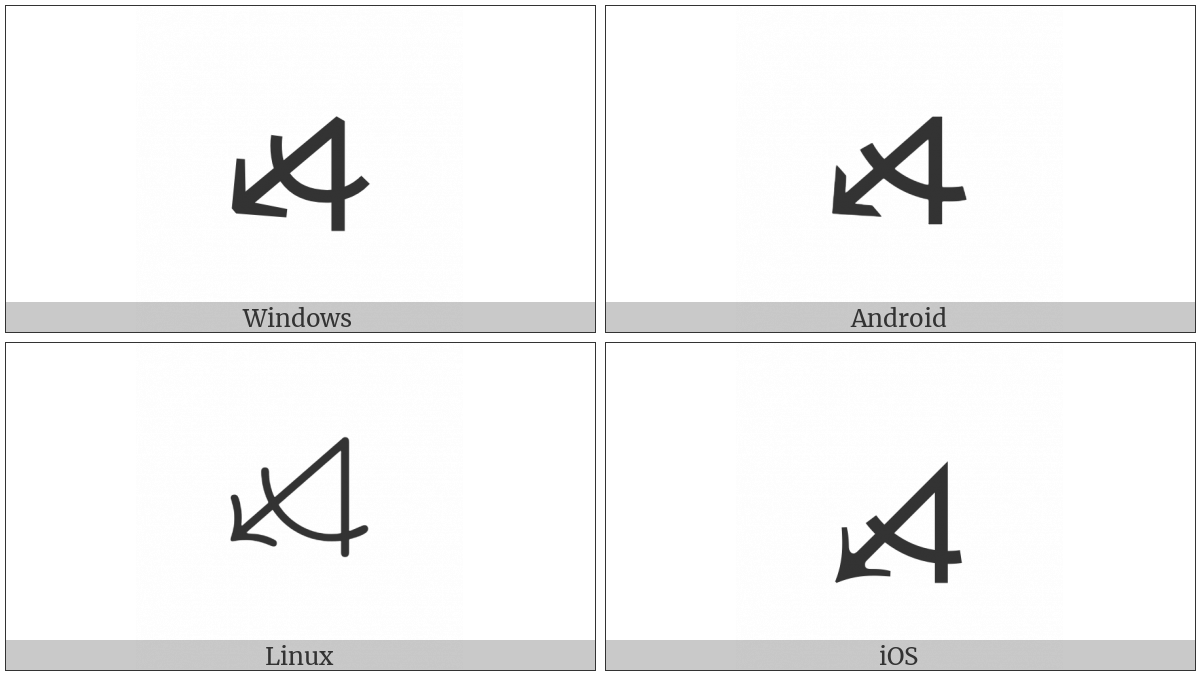 Measured Angle With Open Arm Ending In Arrow Pointing Left And Down on various operating systems