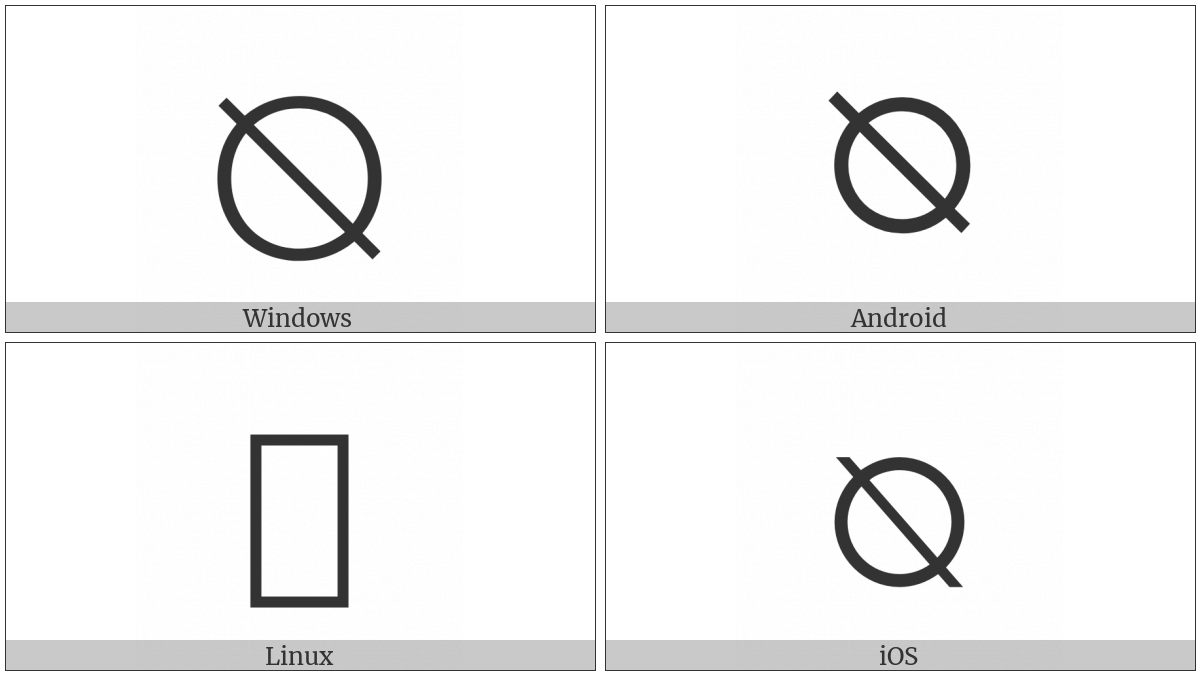Reversed Empty Set on various operating systems