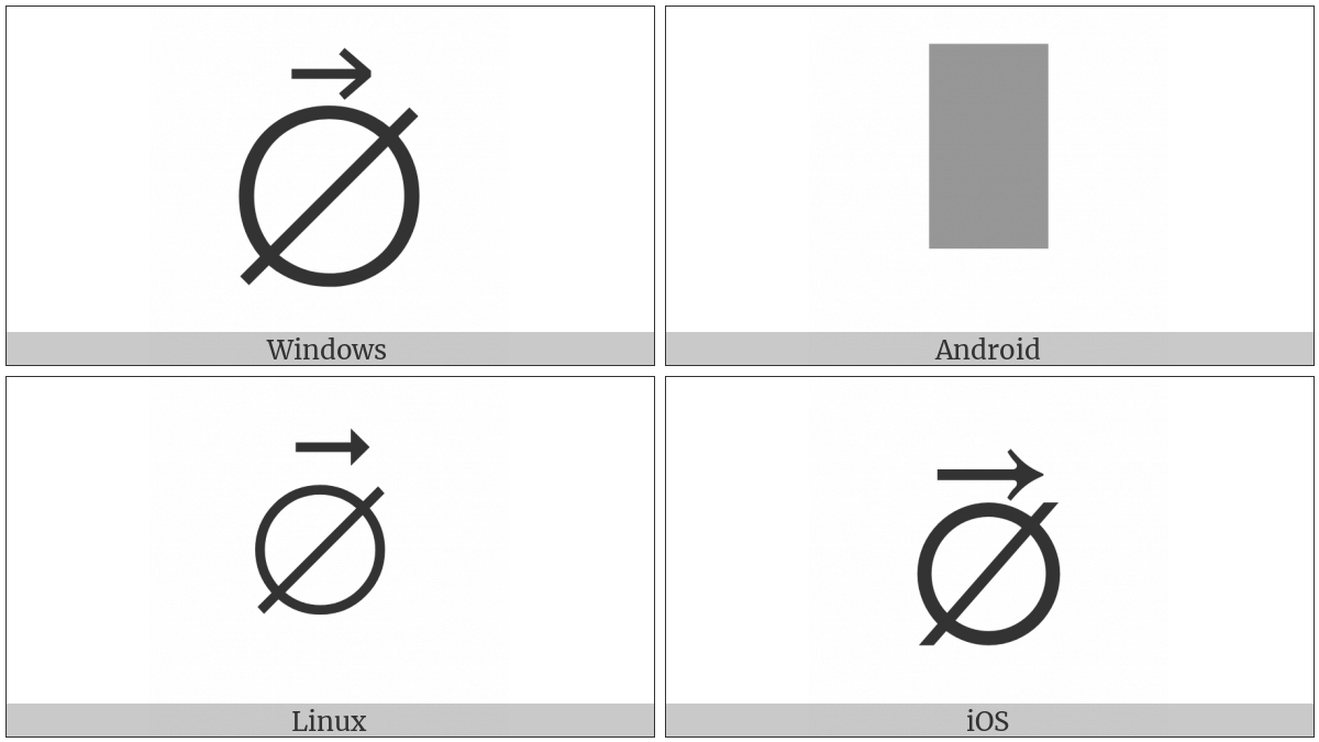 Empty Set With Right Arrow Above on various operating systems