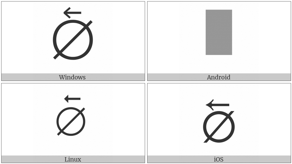 Empty Set With Left Arrow Above on various operating systems