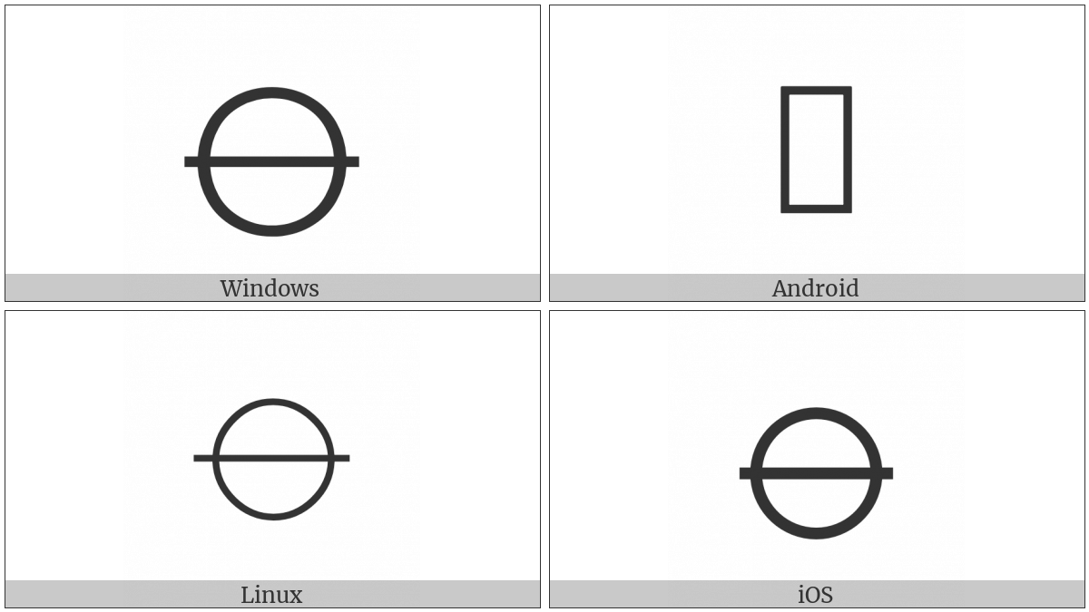 Circle With Horizontal Bar on various operating systems