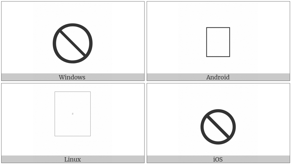 Circled Reverse Solidus on various operating systems