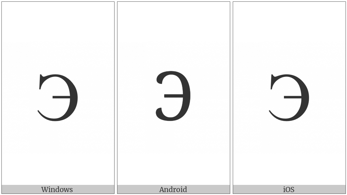 Cyrillic Capital Letter E on various operating systems