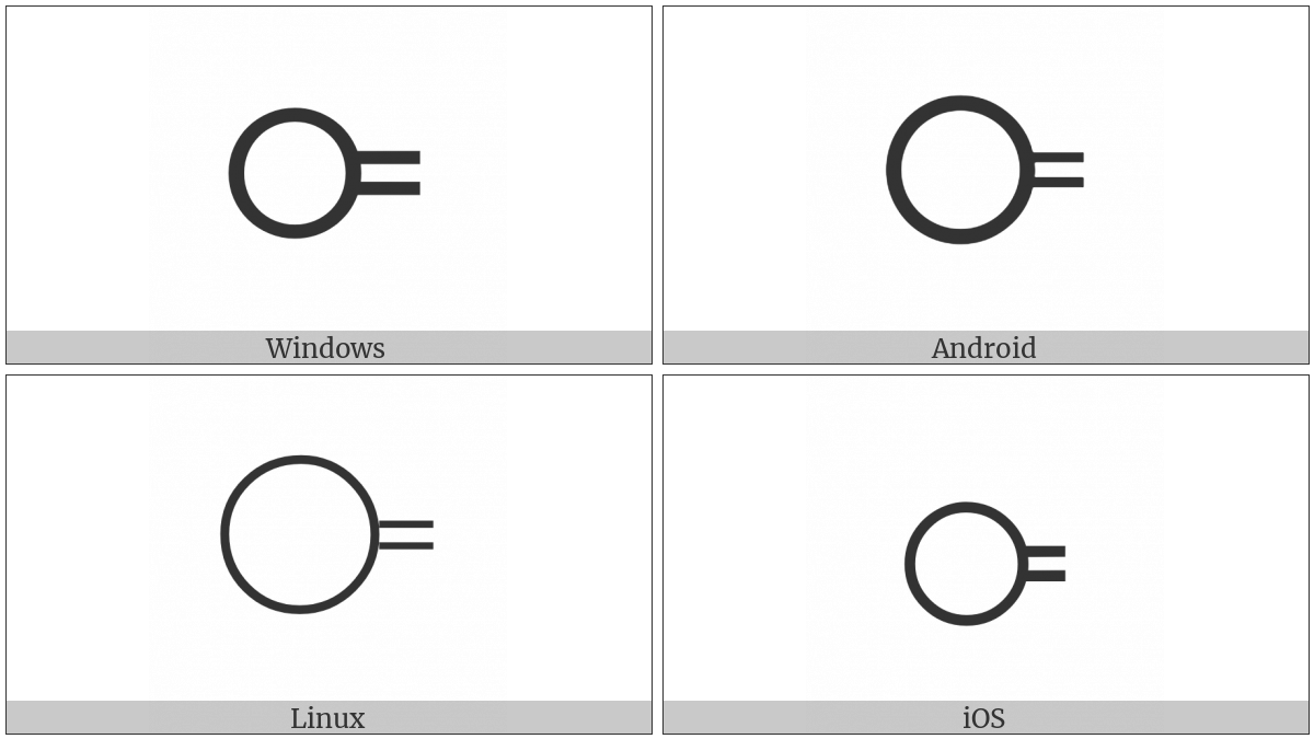 Circle With Two Horizontal Strokes To The Right on various operating systems