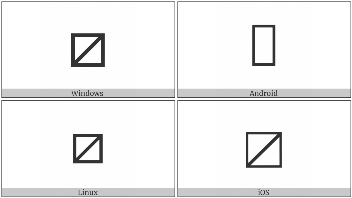 Squared Rising Diagonal Slash on various operating systems