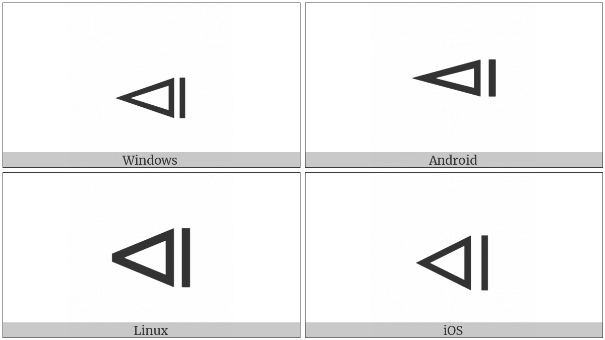 Left Triangle Beside Vertical Bar on various operating systems