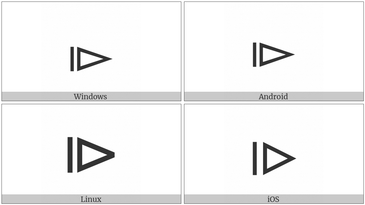 Vertical Bar Beside Right Triangle on various operating systems