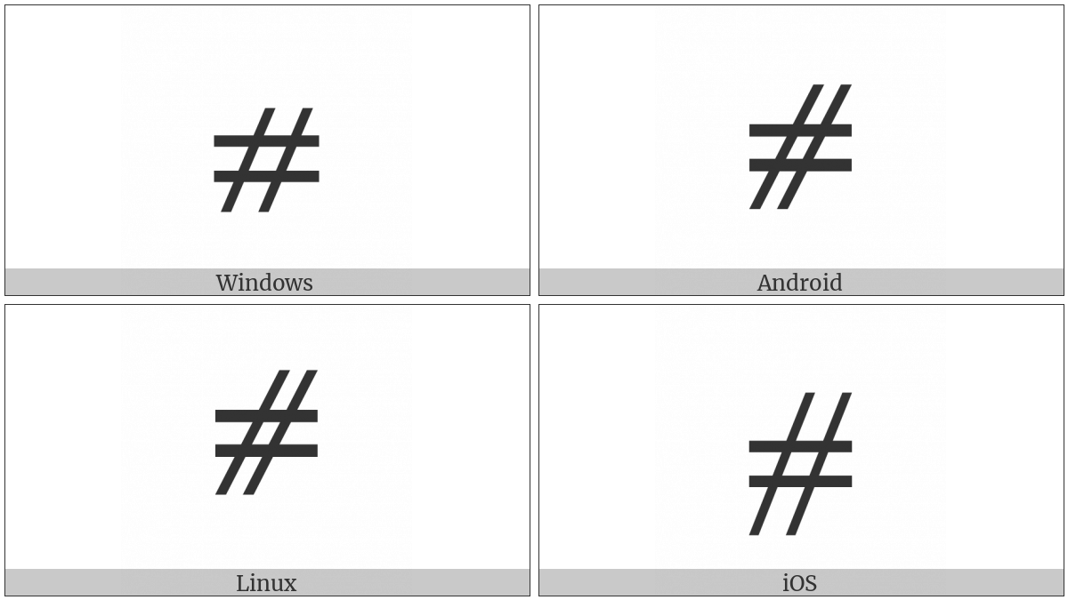 Equals Sign And Slanted Parallel on various operating systems