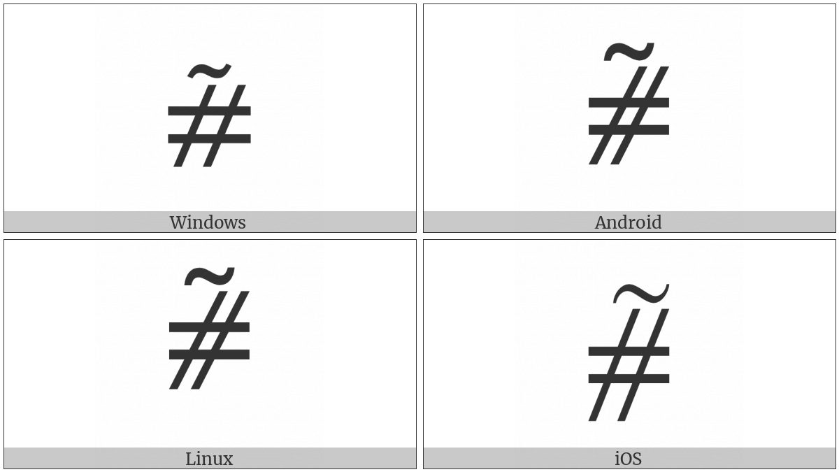 Equals Sign And Slanted Parallel With Tilde Above on various operating systems