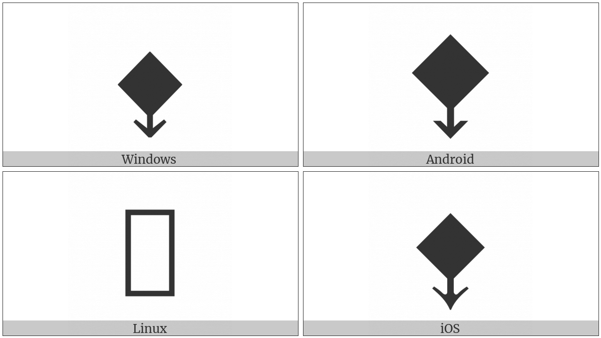Black Diamond With Down Arrow on various operating systems