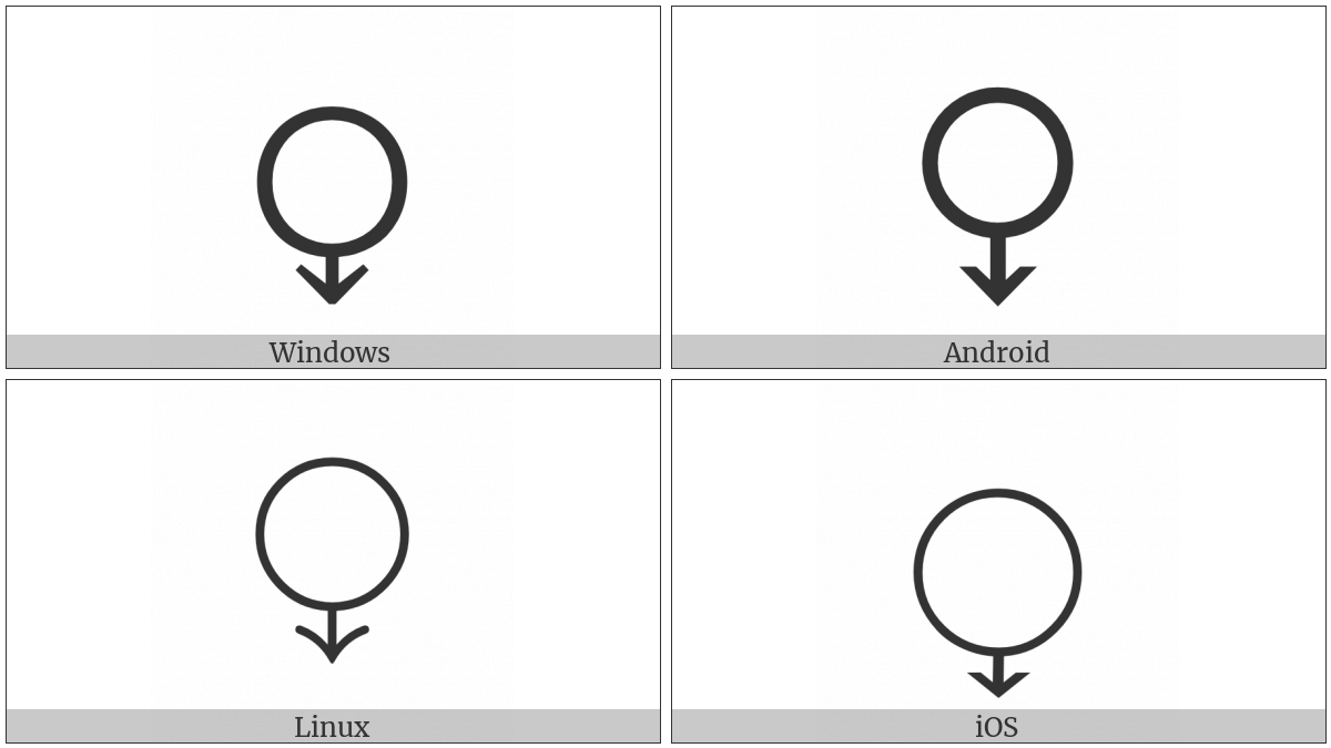 White Circle With Down Arrow on various operating systems