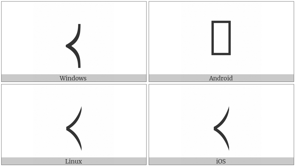 Left-Pointing Curved Angle Bracket on various operating systems