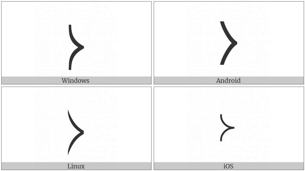 Right-Pointing Curved Angle Bracket on various operating systems