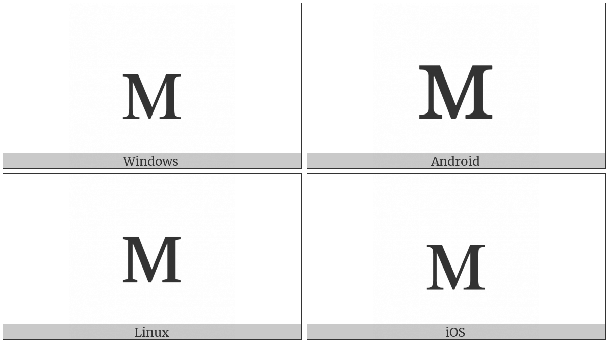 Cyrillic Small Letter Em on various operating systems