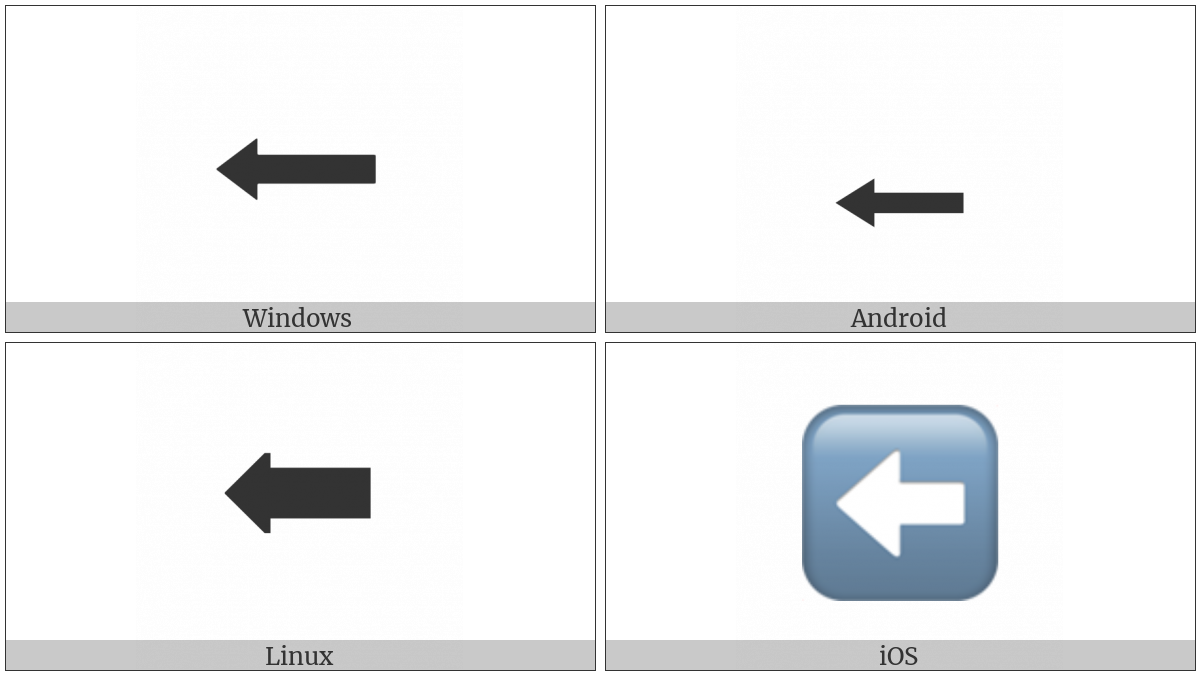 Leftwards Black Arrow on various operating systems