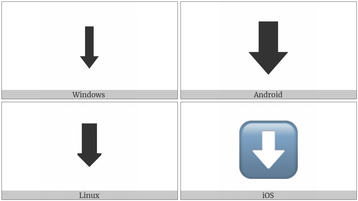 Downwards Black Arrow on various operating systems