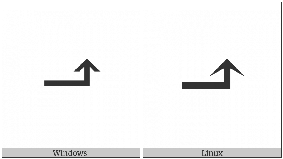 Rightwards Arrow With Tip Upwards on various operating systems