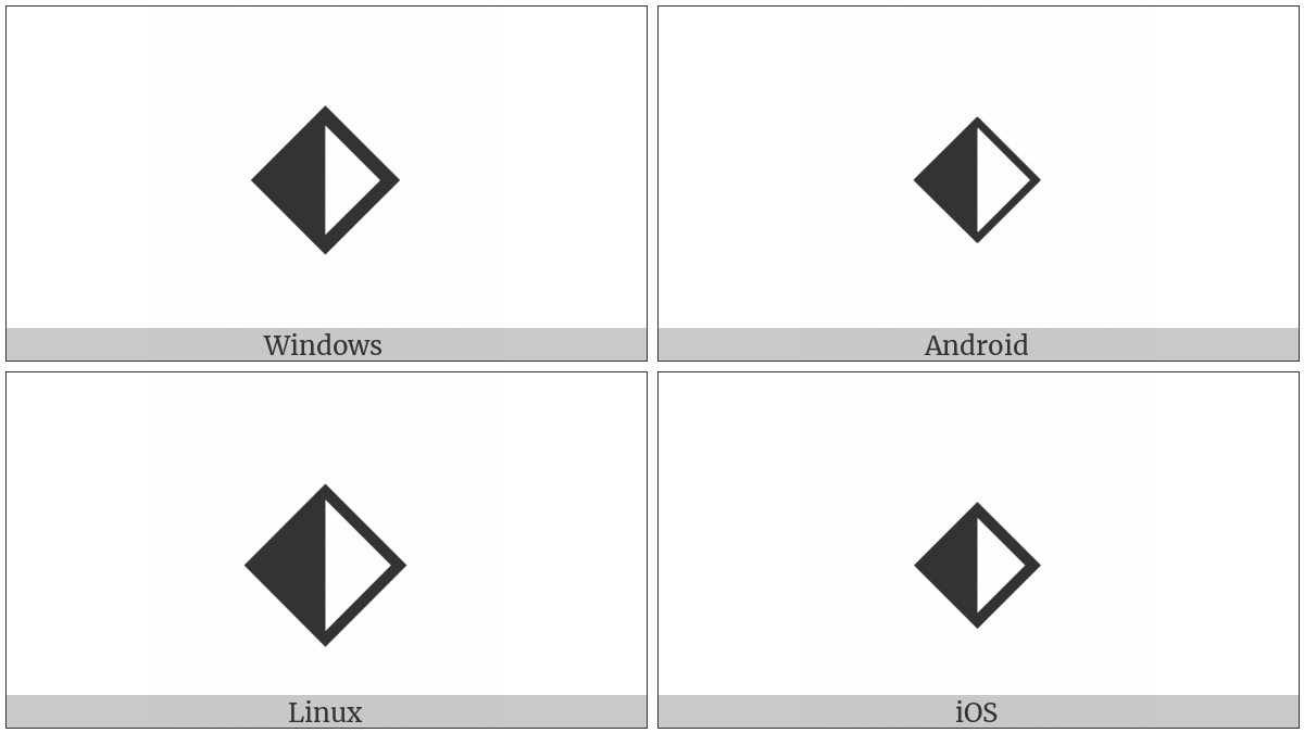 Diamond With Left Half Black on various operating systems