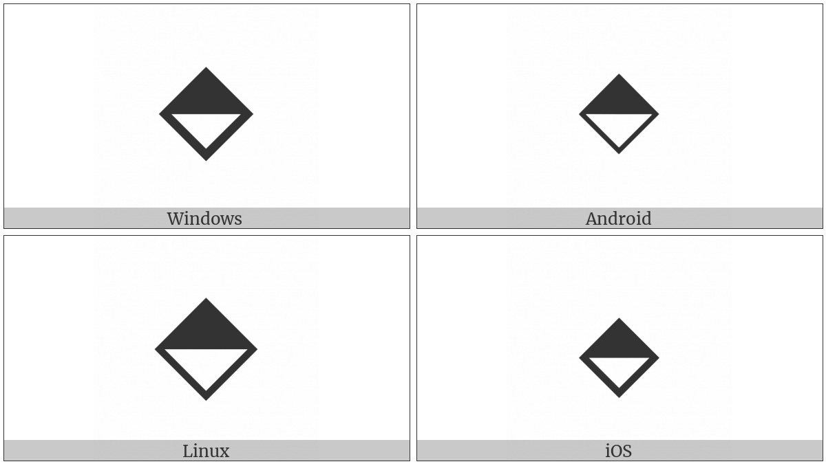 Diamond With Top Half Black on various operating systems