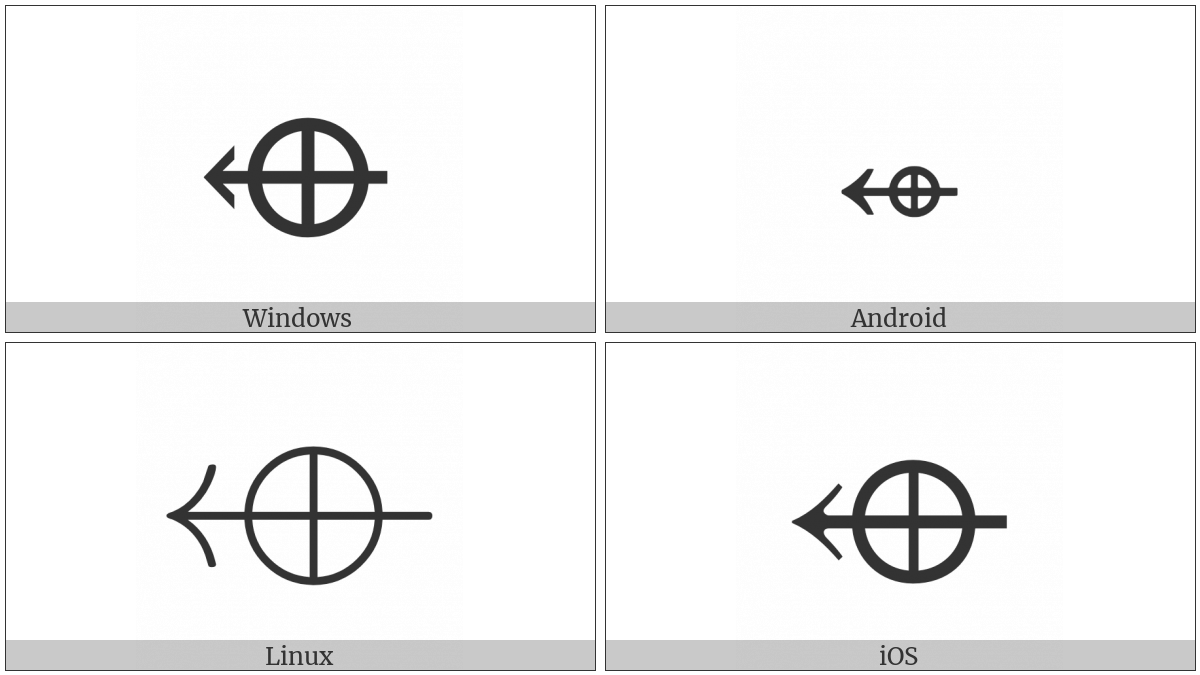 Left Arrow With Circled Plus on various operating systems