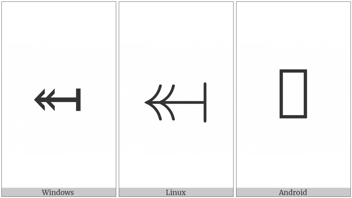 Leftwards Two-Headed Arrow From Bar on various operating systems