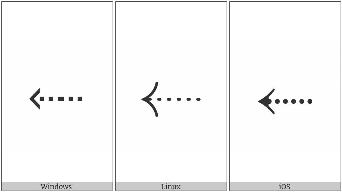 Leftwards Arrow With Dotted Stem on various operating systems