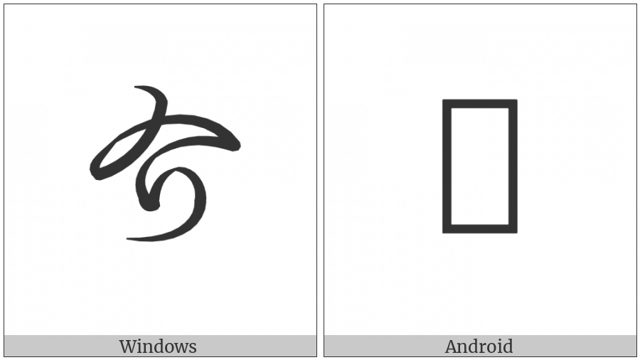 Hentaigana Letter Ke-1 on various operating systems