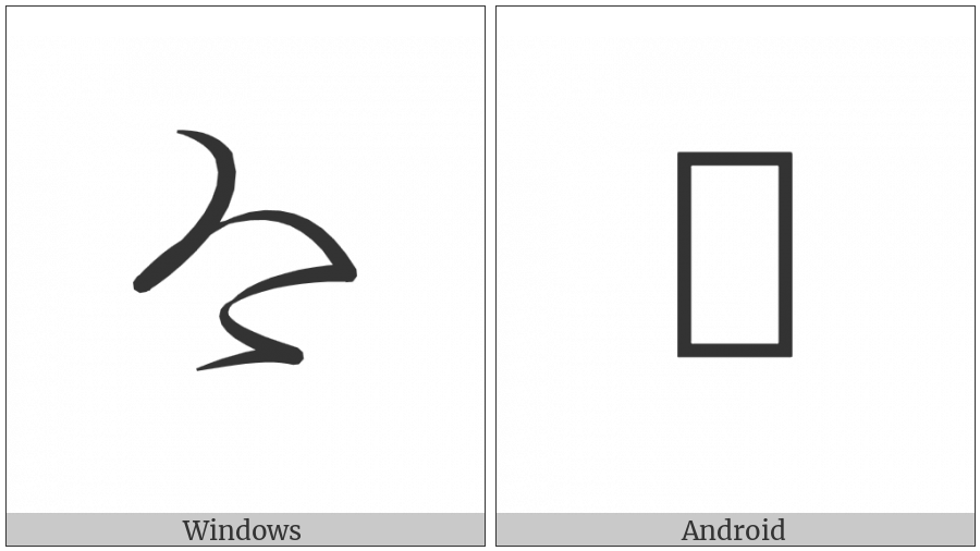Hentaigana Letter Ke-2 on various operating systems