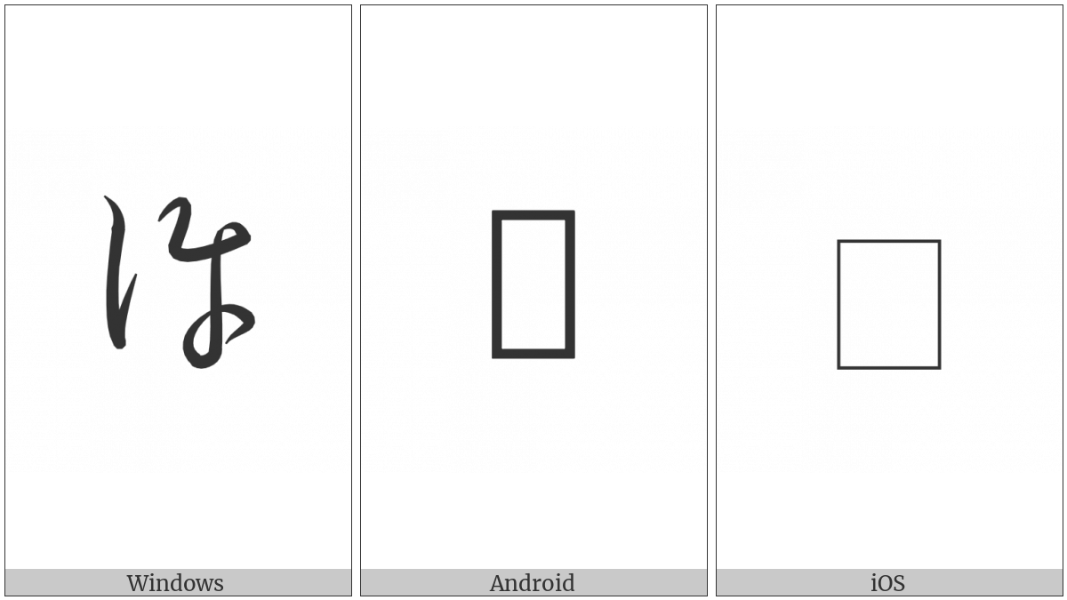 Hentaigana Letter Ko-3 on various operating systems