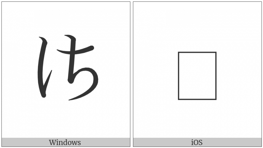 Hentaigana Letter Sa-3 on various operating systems