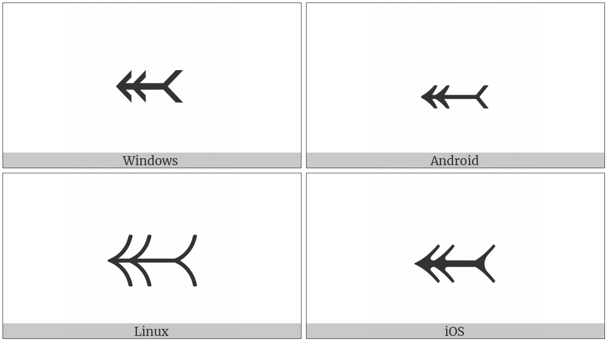 Leftwards Two-Headed Arrow With Tail on various operating systems