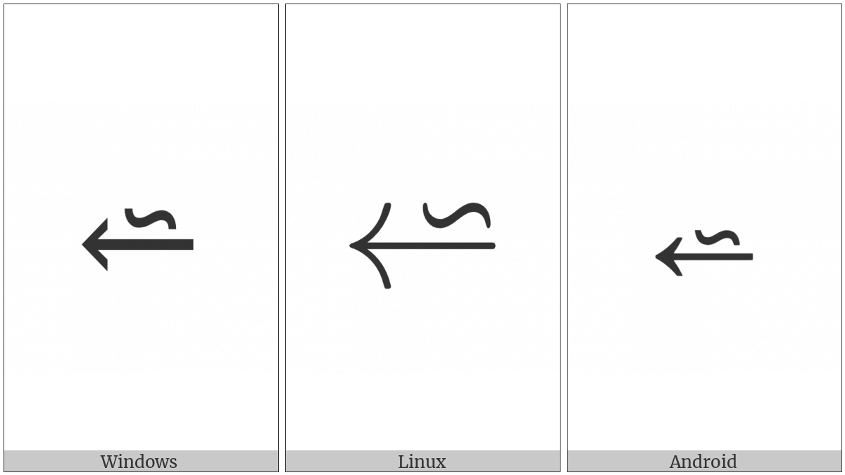 Reverse Tilde Operator Above Leftwards Arrow on various operating systems