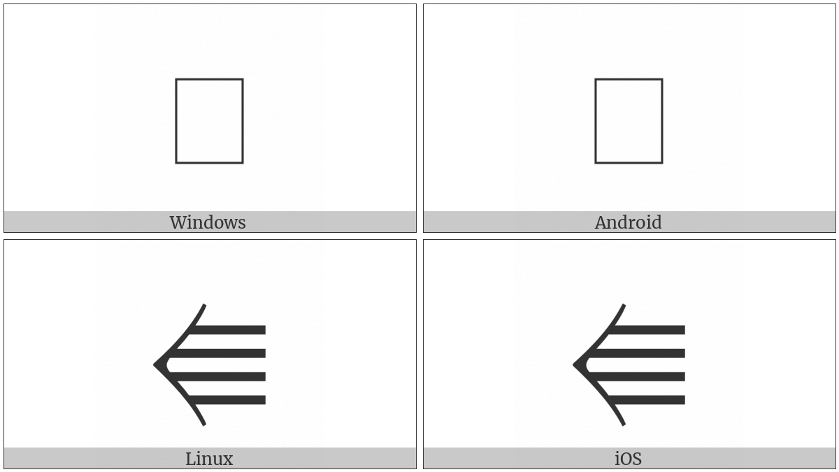 Leftwards Quadruple Arrow on various operating systems