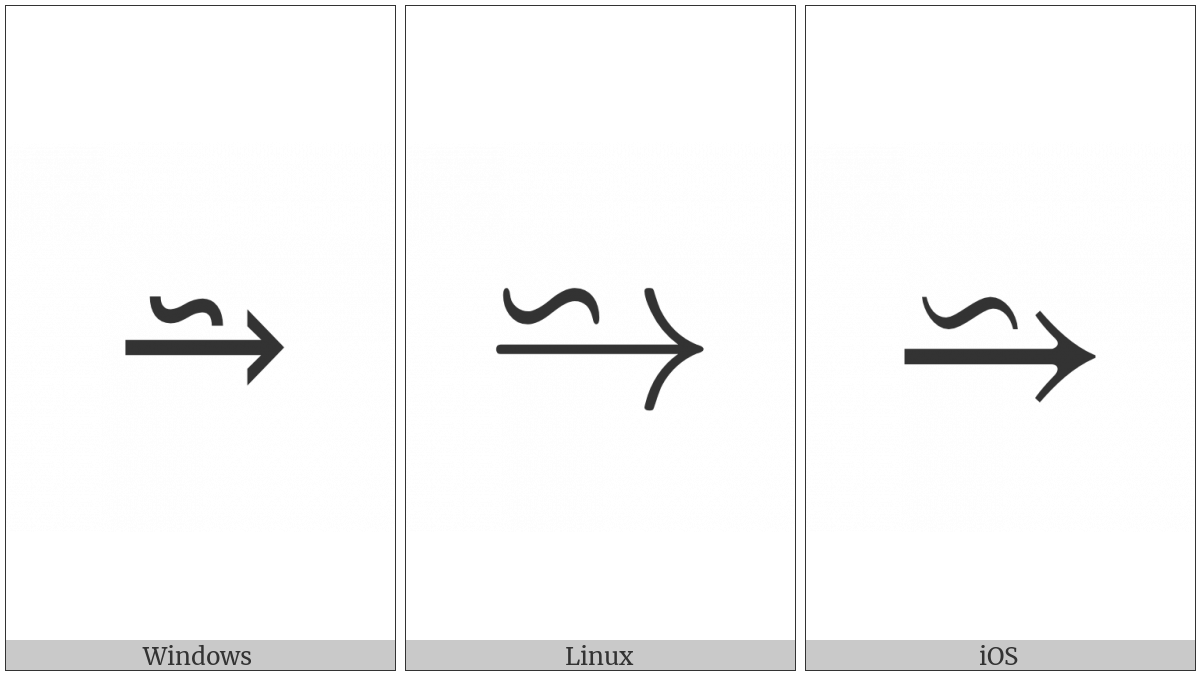 Reverse Tilde Operator Above Rightwards Arrow on various operating systems