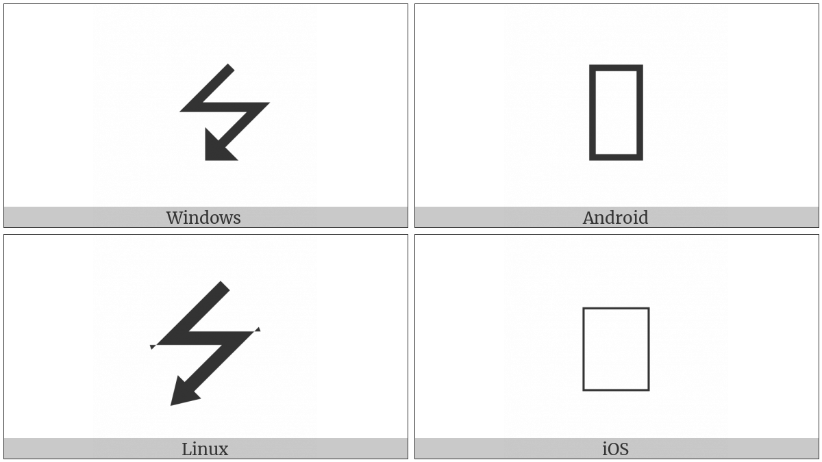 Downwards Triangle-Headed Zigzag Arrow on various operating systems