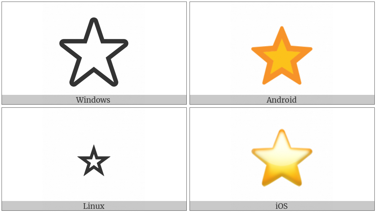 White Medium Star on various operating systems