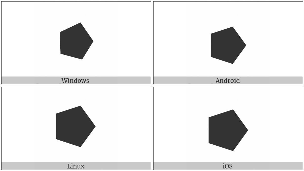 Black Right-Pointing Pentagon on various operating systems