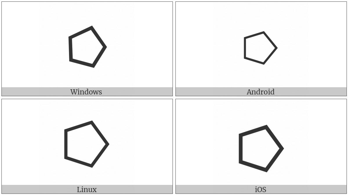 White Right-Pointing Pentagon on various operating systems
