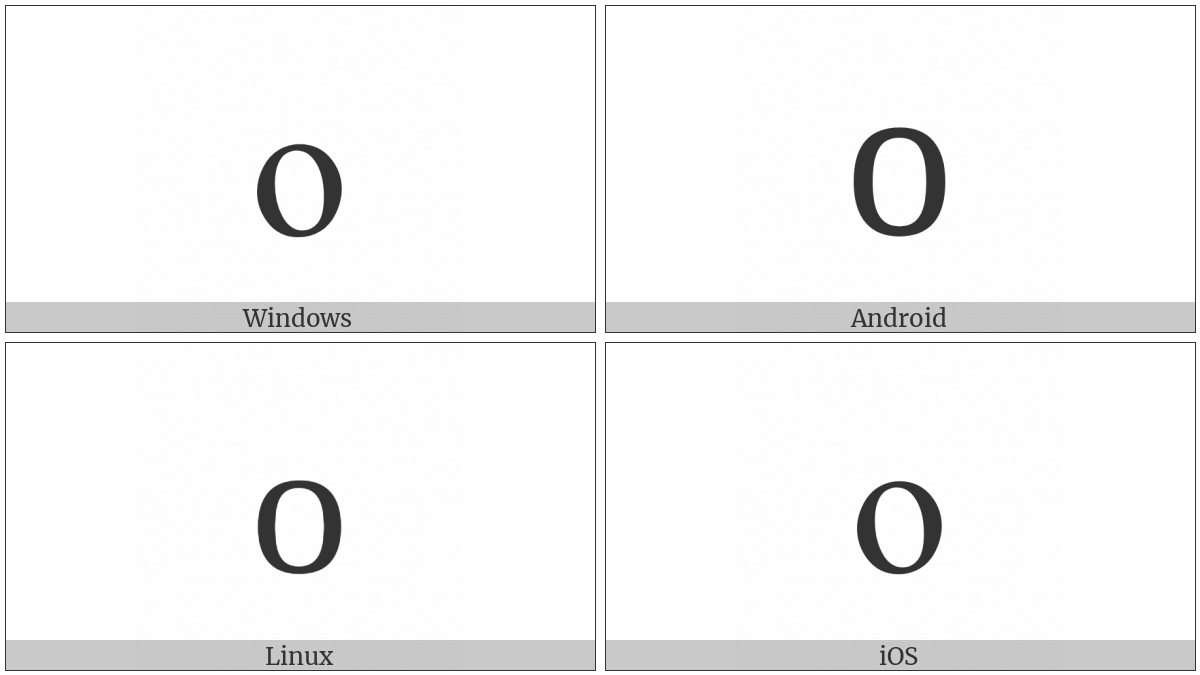 Latin Small Letter O on various operating systems