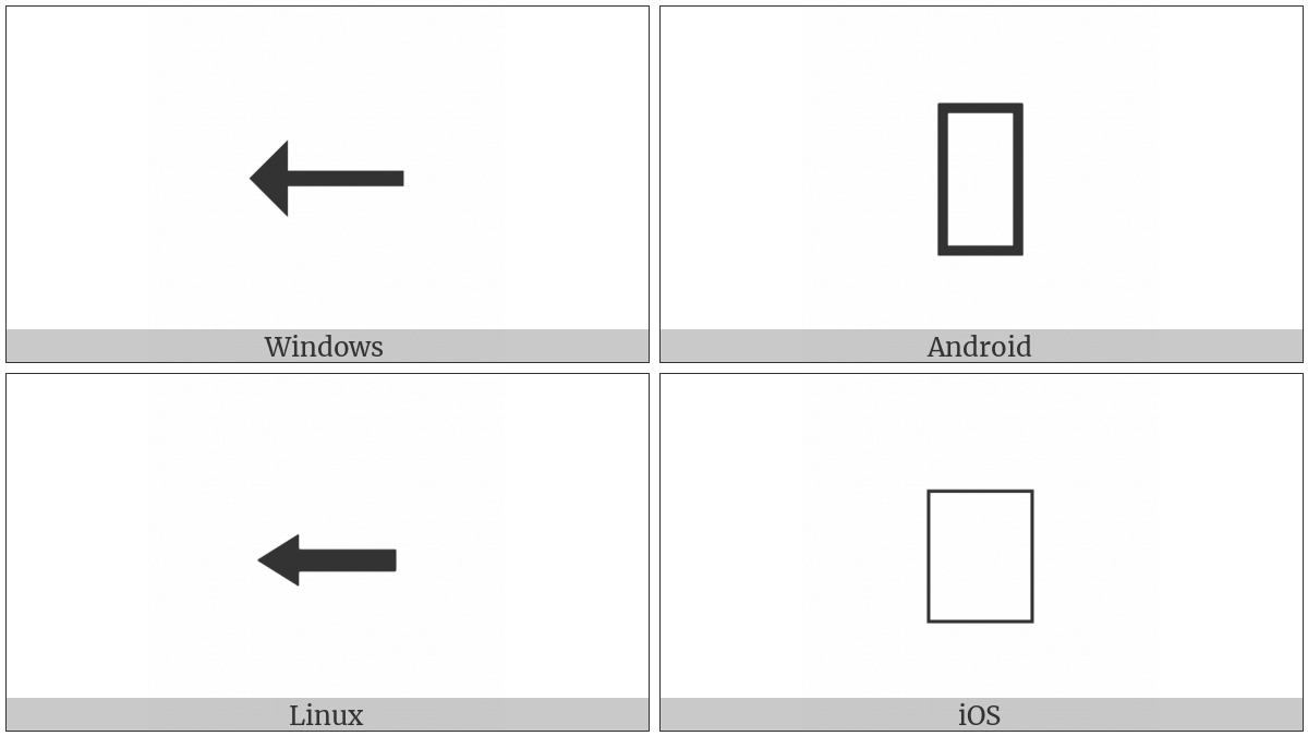 Leftwards Triangle-Headed Arrow on various operating systems