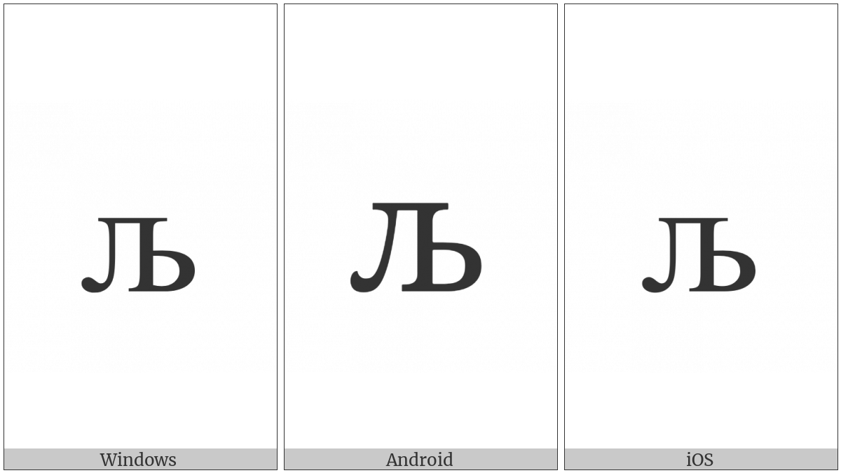 Cyrillic Small Letter Lje on various operating systems