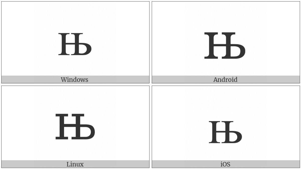 Cyrillic Small Letter Nje on various operating systems