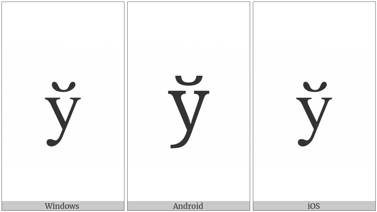 Cyrillic Small Letter Short U on various operating systems