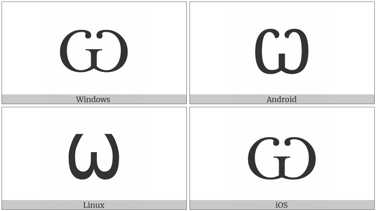 Cyrillic Capital Letter Omega on various operating systems